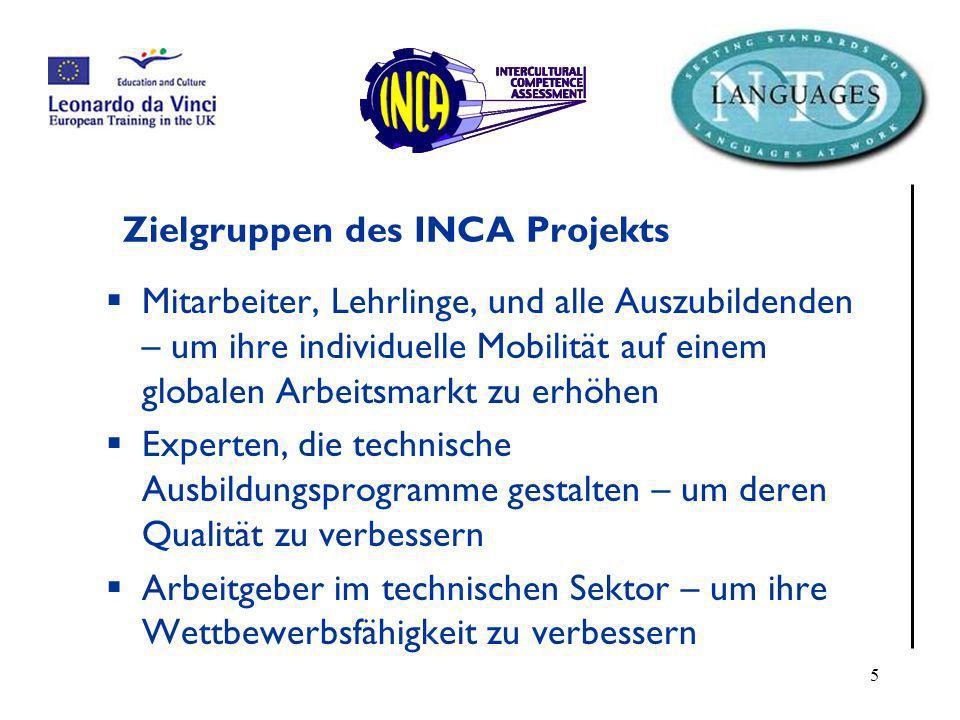 Zielgruppen des INCA Projekts
