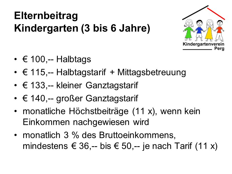 Elternbeitrag Kindergarten (3 bis 6 Jahre)