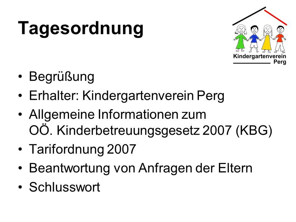 Tagesordnung Begrüßung Erhalter: Kindergartenverein Perg