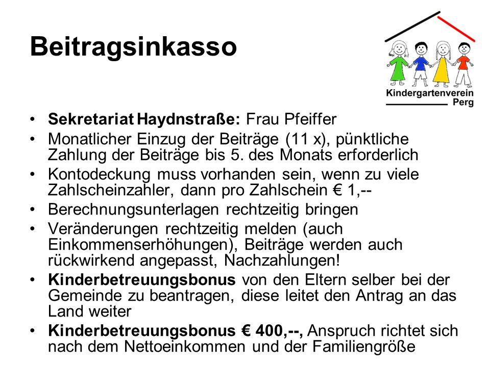 Beitragsinkasso Sekretariat Haydnstraße: Frau Pfeiffer