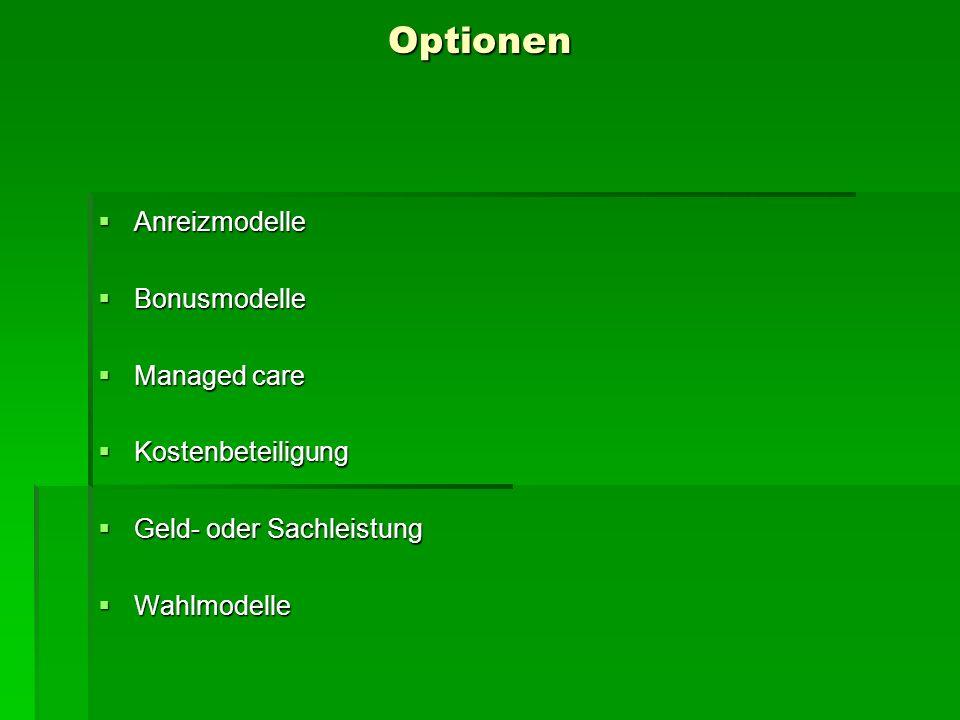 Optionen Anreizmodelle Bonusmodelle Managed care Kostenbeteiligung