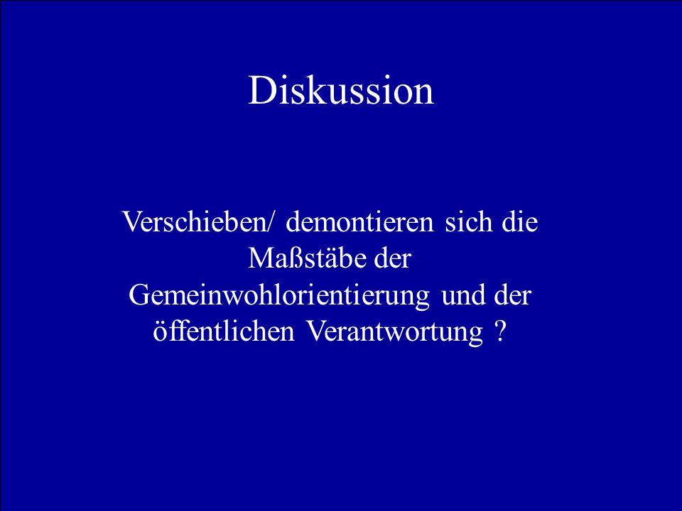 Diskussion Verschieben/ demontieren sich die Maßstäbe der Gemeinwohlorientierung und der öffentlichen Verantwortung