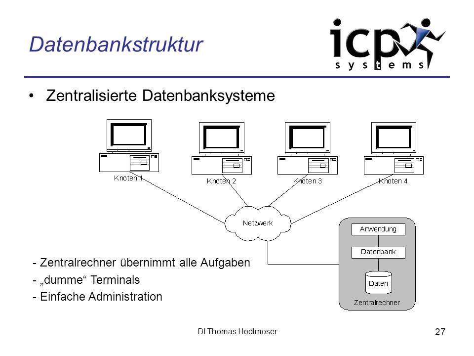 Datenbankstruktur Zentralisierte Datenbanksysteme