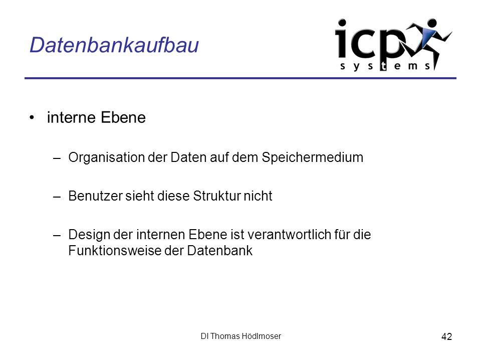 Datenbankaufbau interne Ebene