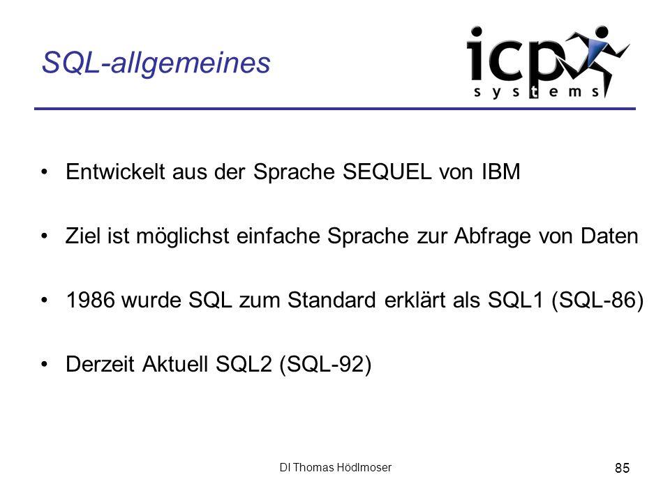 SQL-allgemeines Entwickelt aus der Sprache SEQUEL von IBM