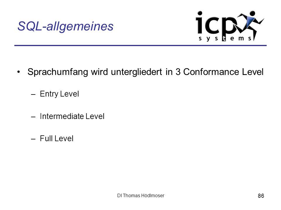 SQL-allgemeines Sprachumfang wird untergliedert in 3 Conformance Level