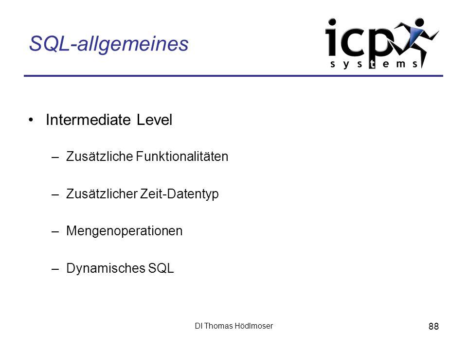 SQL-allgemeines Intermediate Level Zusätzliche Funktionalitäten