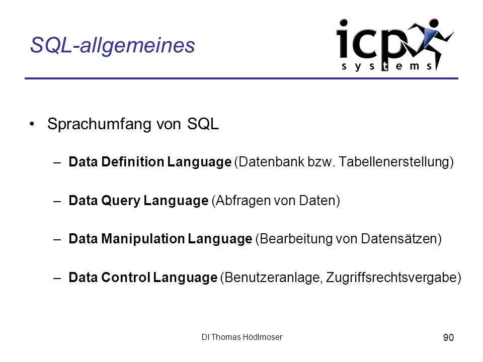 SQL-allgemeines Sprachumfang von SQL