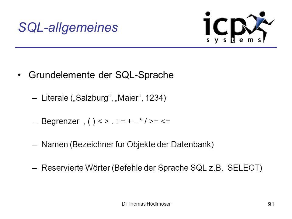 SQL-allgemeines Grundelemente der SQL-Sprache