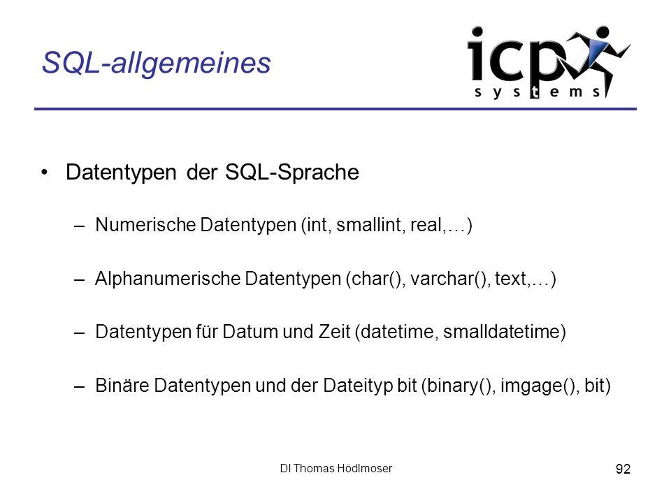 SQL-allgemeines Datentypen der SQL-Sprache