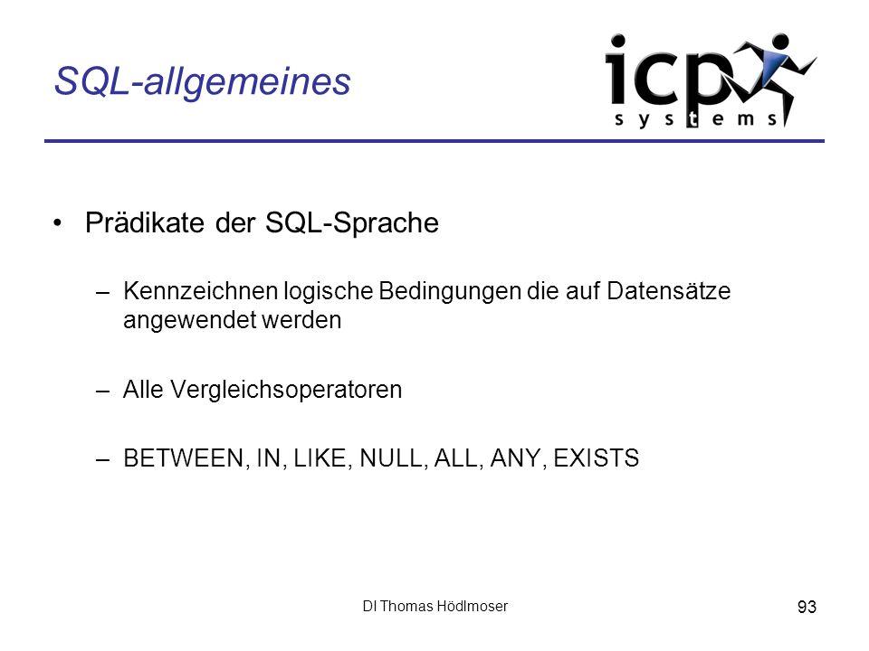 SQL-allgemeines Prädikate der SQL-Sprache