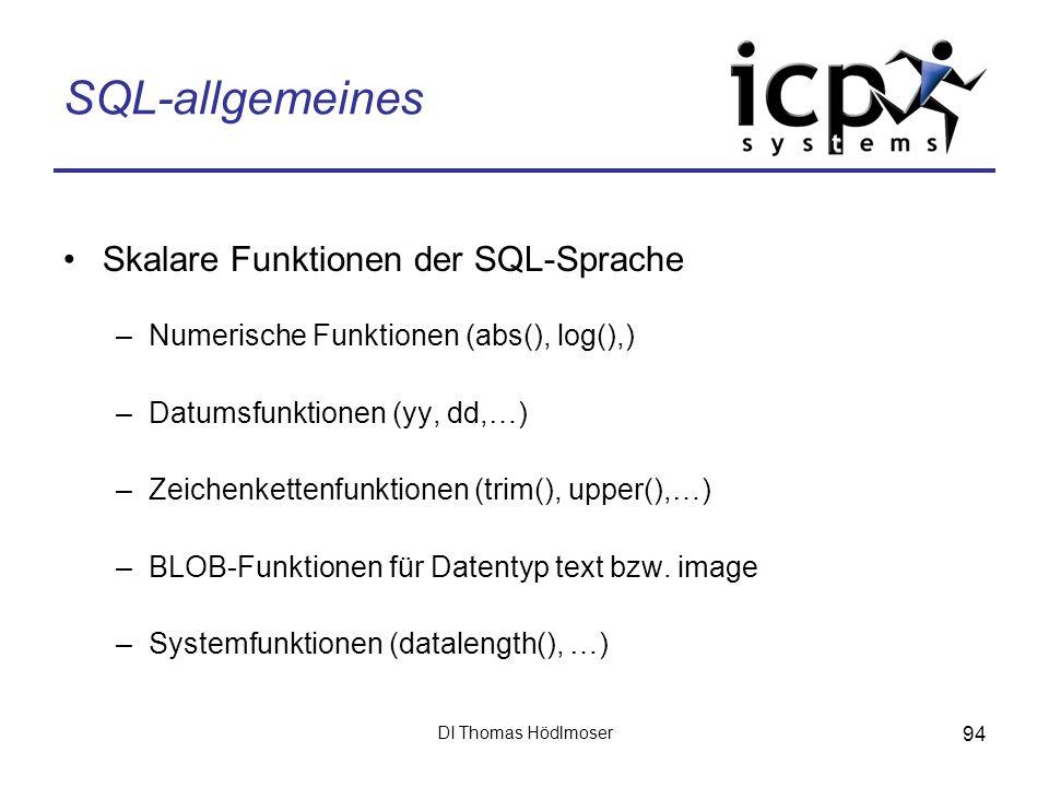 SQL-allgemeines Skalare Funktionen der SQL-Sprache