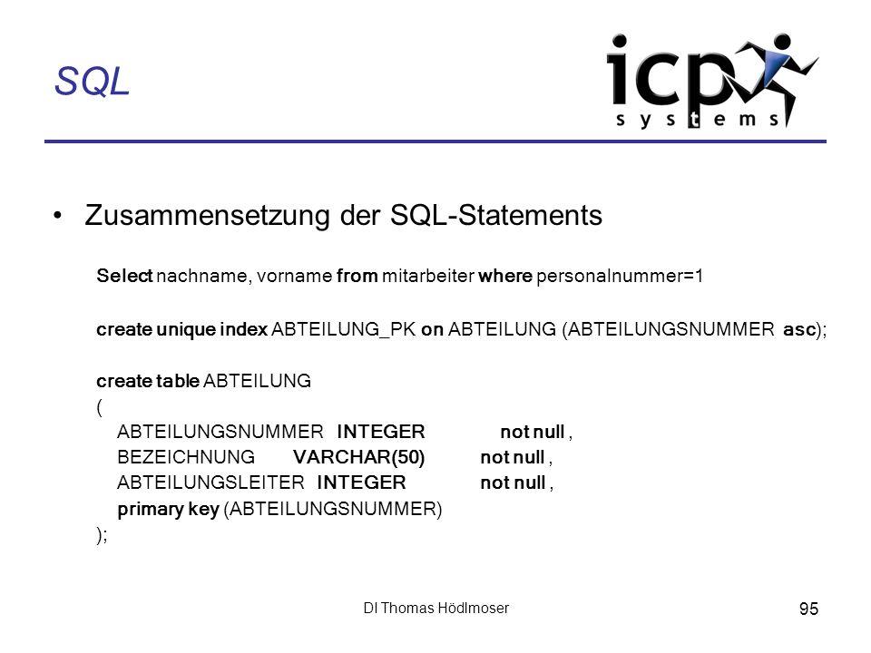 SQL Zusammensetzung der SQL-Statements
