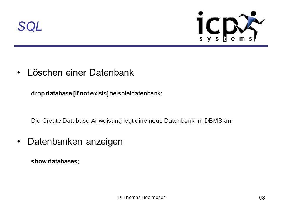SQL Löschen einer Datenbank Datenbanken anzeigen