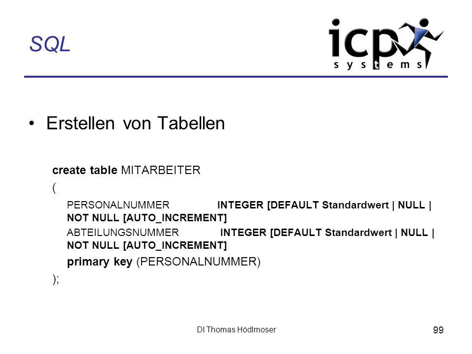 SQL Erstellen von Tabellen create table MITARBEITER (