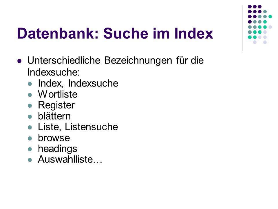 Datenbank: Suche im Index