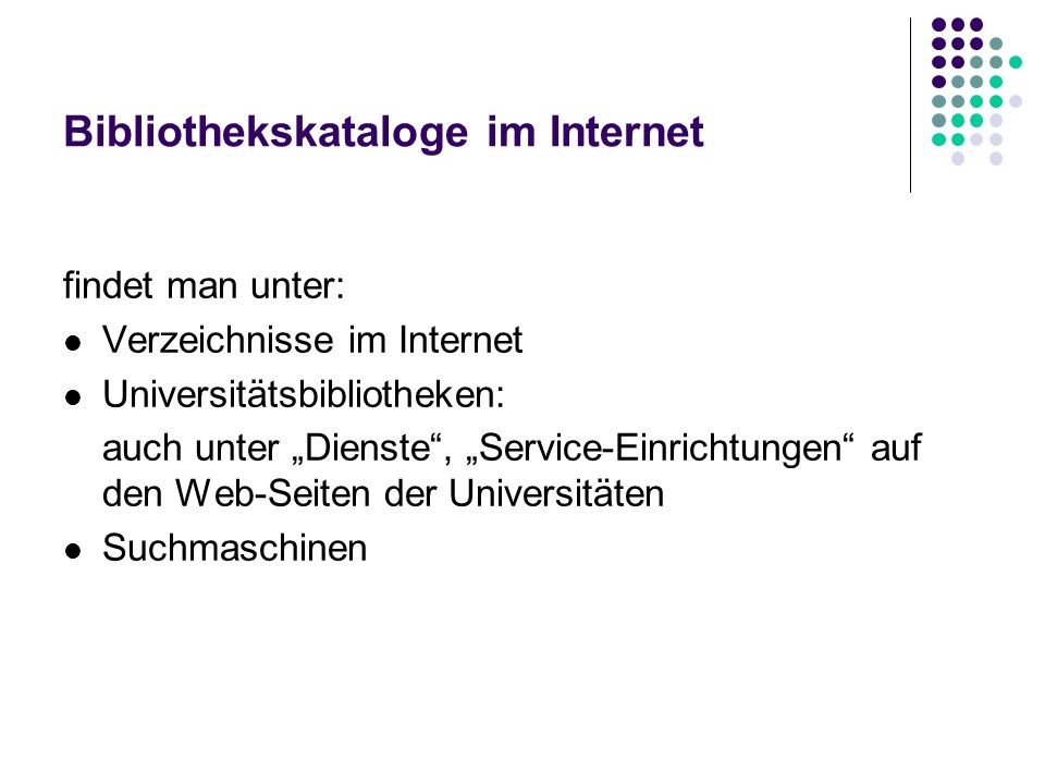 Bibliothekskataloge im Internet