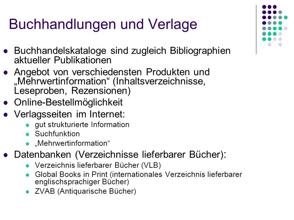 Buchhandlungen und Verlage