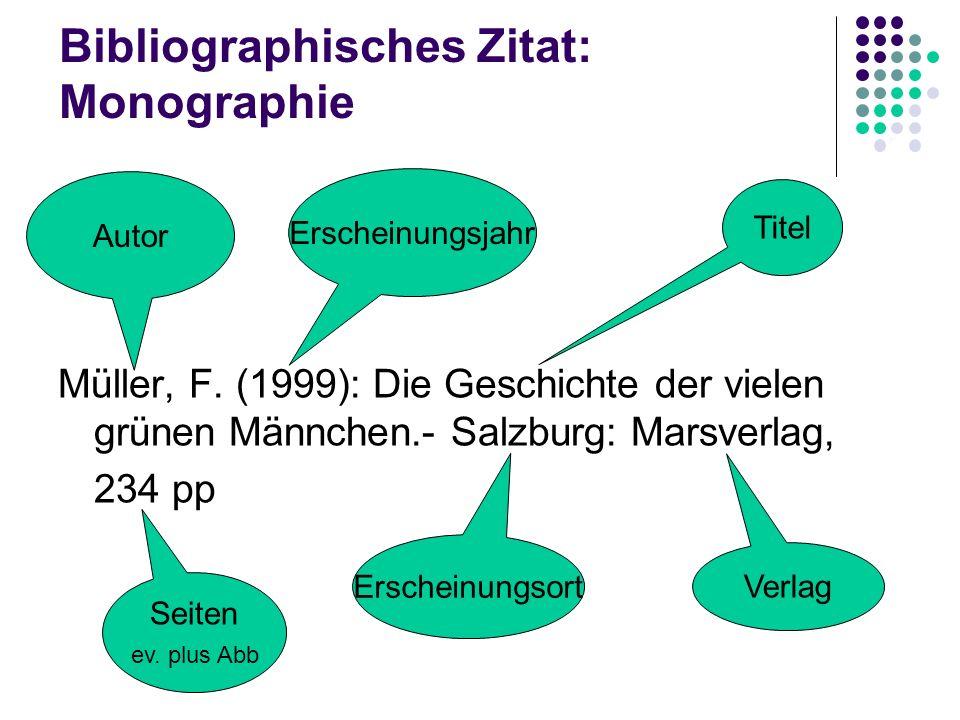 Bibliographisches Zitat: Monographie