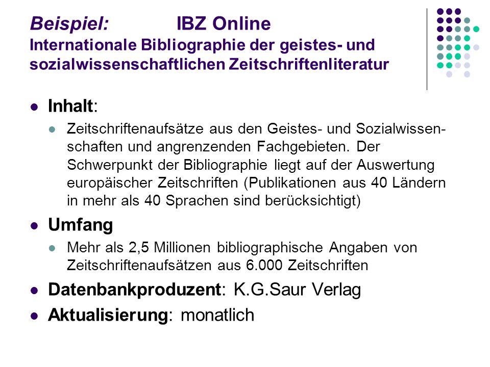 Beispiel: IBZ Online Internationale Bibliographie der geistes- und sozialwissenschaftlichen Zeitschriftenliteratur
