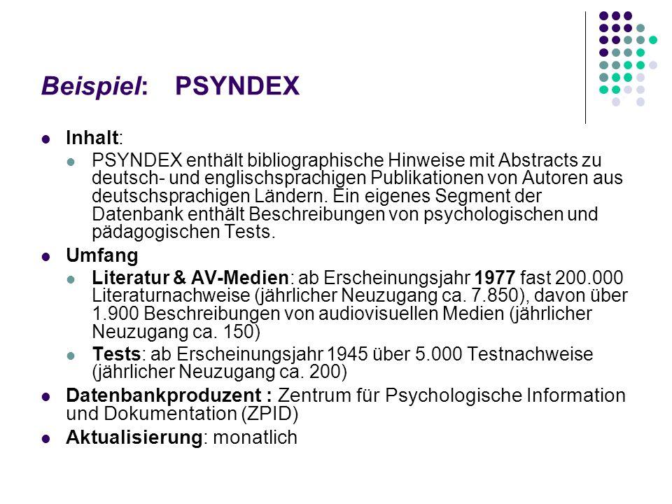 Beispiel: PSYNDEX Inhalt: Umfang