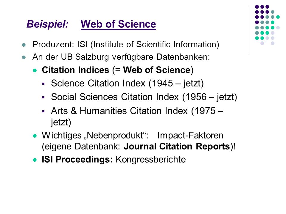 Beispiel: Web of Science