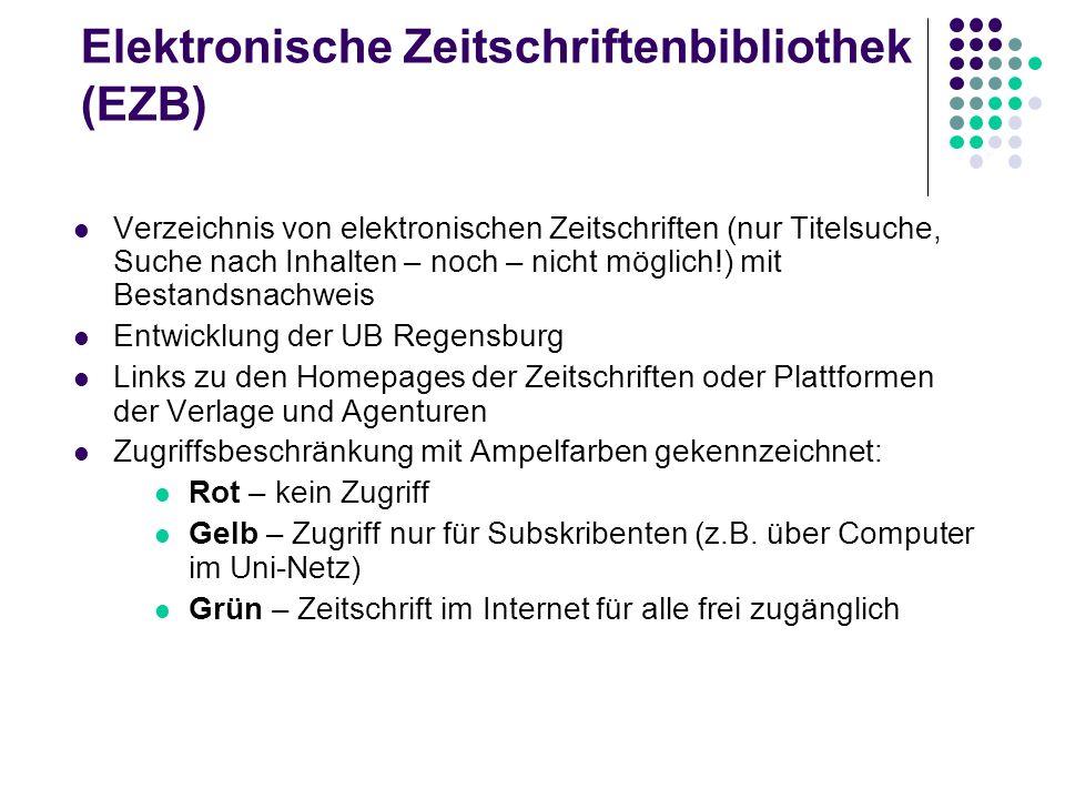 Elektronische Zeitschriftenbibliothek (EZB)
