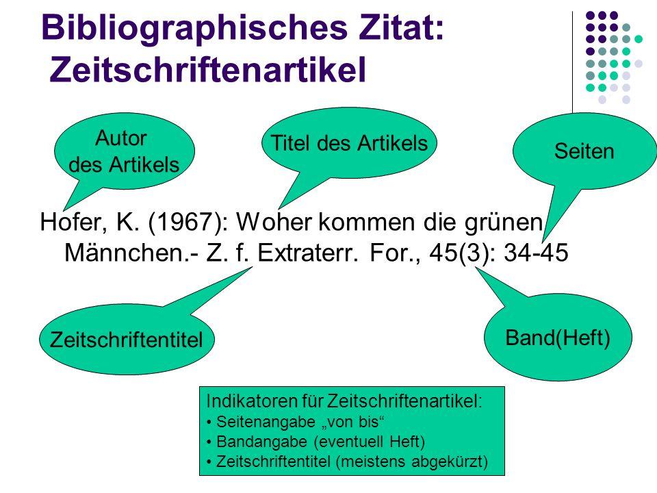 Bibliographisches Zitat: Zeitschriftenartikel