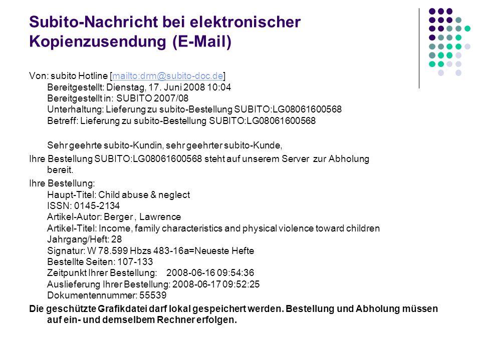 Subito-Nachricht bei elektronischer Kopienzusendung (E-Mail)