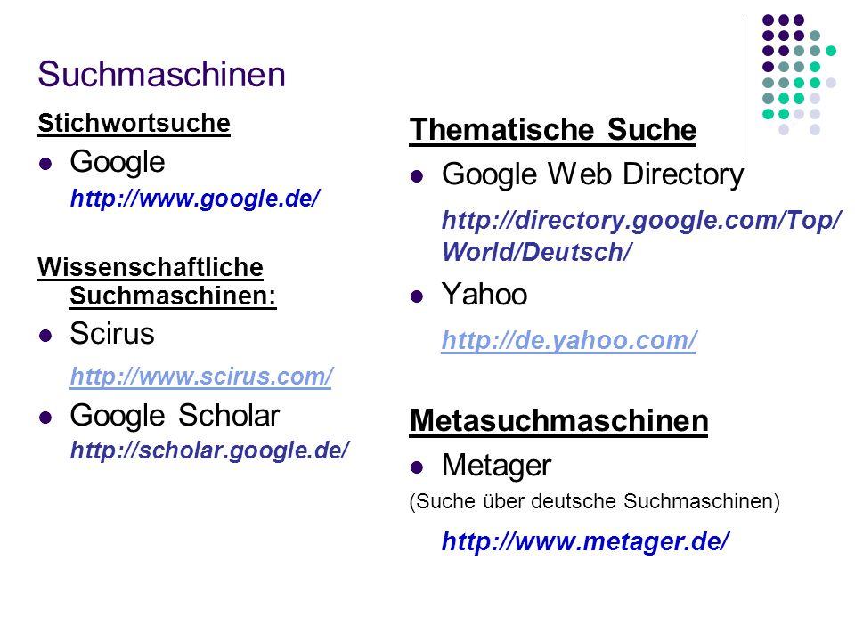 Suchmaschinen Thematische Suche Google Google Web Directory