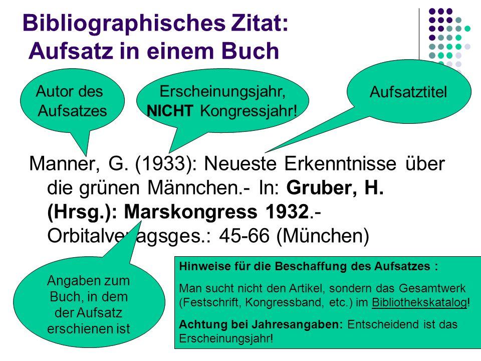 Bibliographisches Zitat: Aufsatz in einem Buch