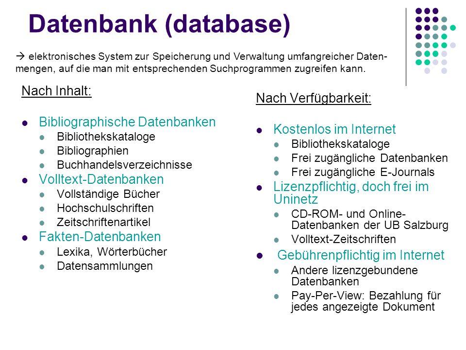 Datenbank (database) Gebührenpflichtig im Internet Nach Inhalt:
