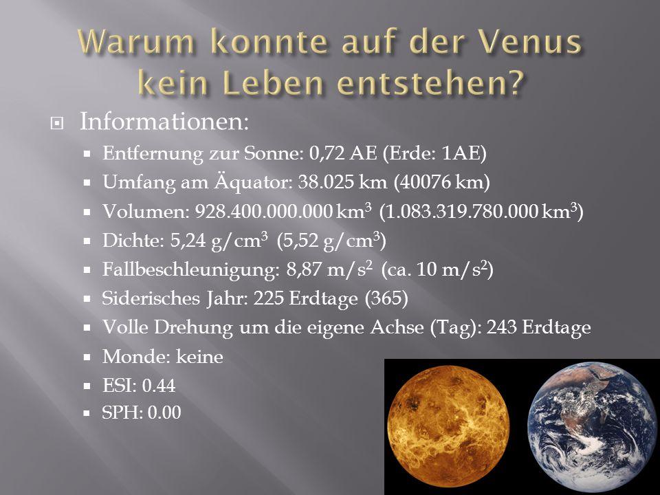 Warum konnte auf der Venus kein Leben entstehen