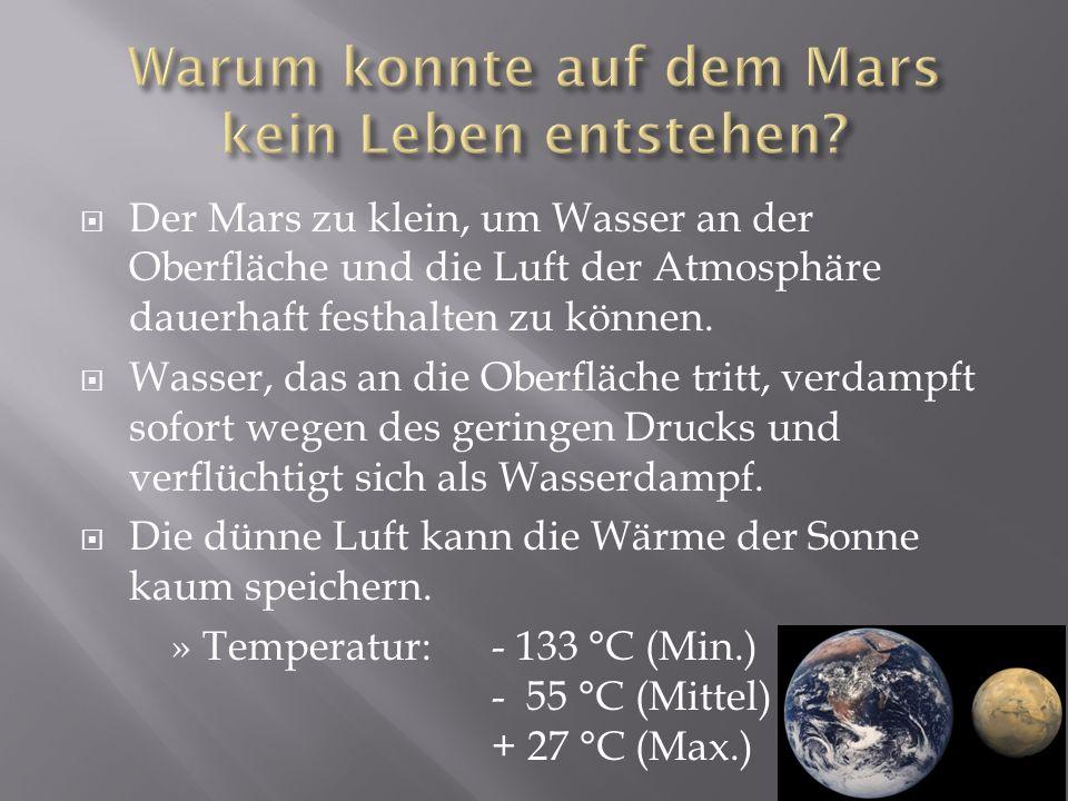 Warum konnte auf dem Mars kein Leben entstehen