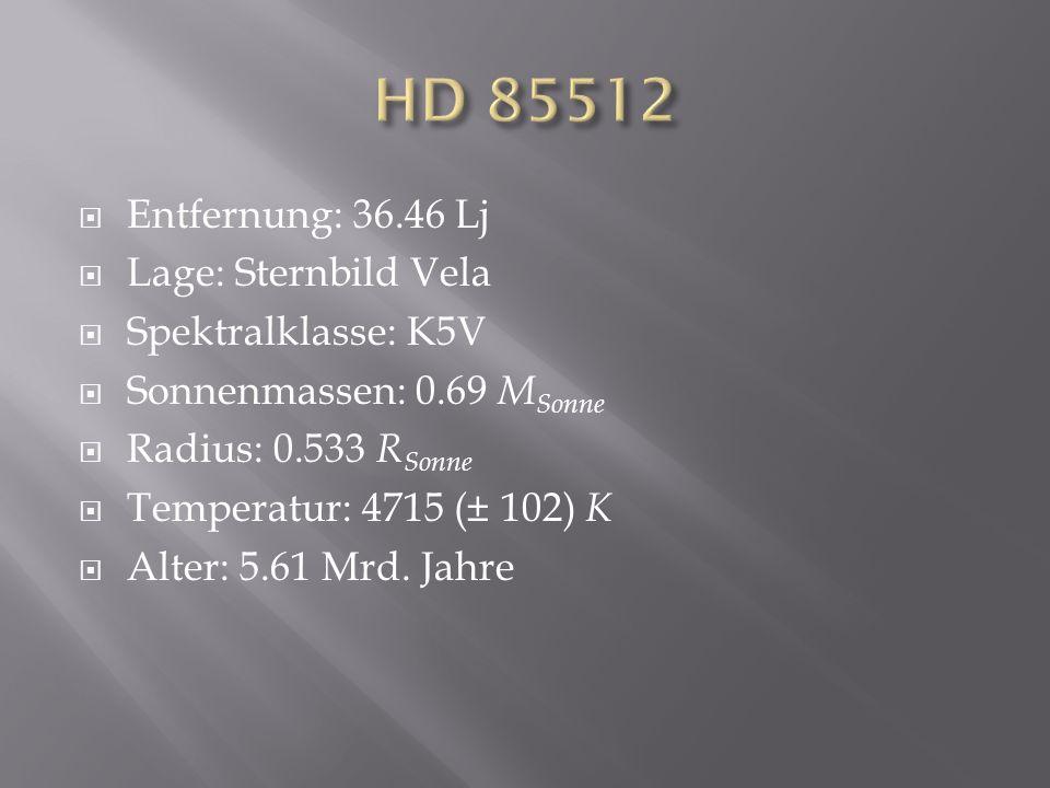 HD 85512 Entfernung: 36.46 Lj Lage: Sternbild Vela Spektralklasse: K5V