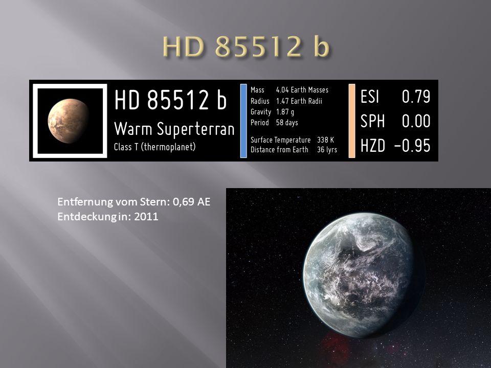 HD 85512 b Entfernung vom Stern: 0,69 AE Entdeckung in: 2011