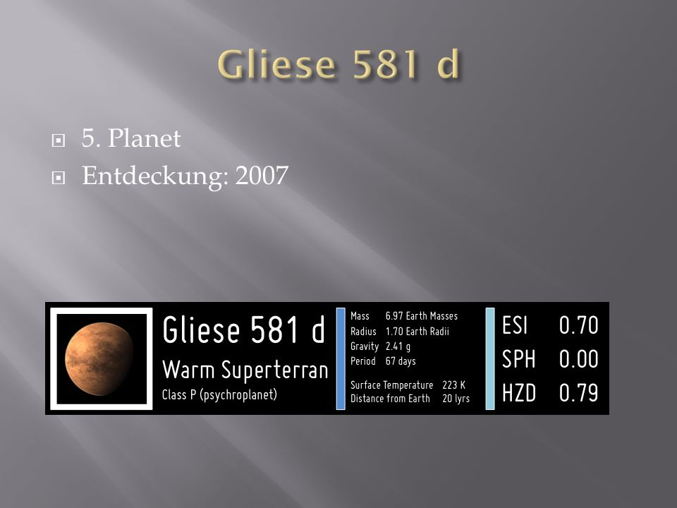 Gliese 581 d 5. Planet Entdeckung: 2007