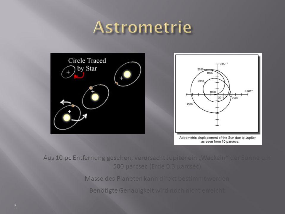 """Astrometrie Aus 10 pc Entfernung gesehen, verursacht Jupiter ein """"Wackeln der Sonne um 500 μarcsec (Erde 0.3 μarcsec)"""