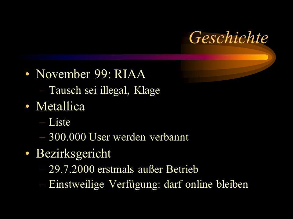Geschichte November 99: RIAA Metallica Bezirksgericht