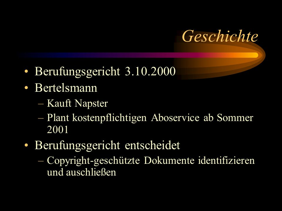 Geschichte Berufungsgericht 3.10.2000 Bertelsmann