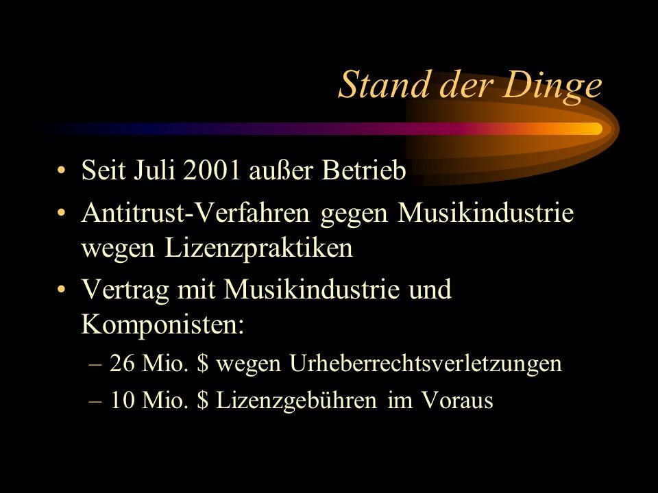 Stand der Dinge Seit Juli 2001 außer Betrieb