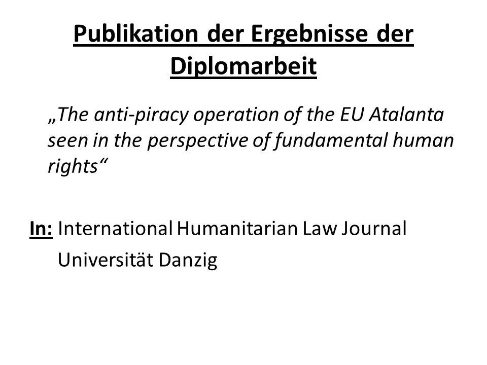 Publikation der Ergebnisse der Diplomarbeit