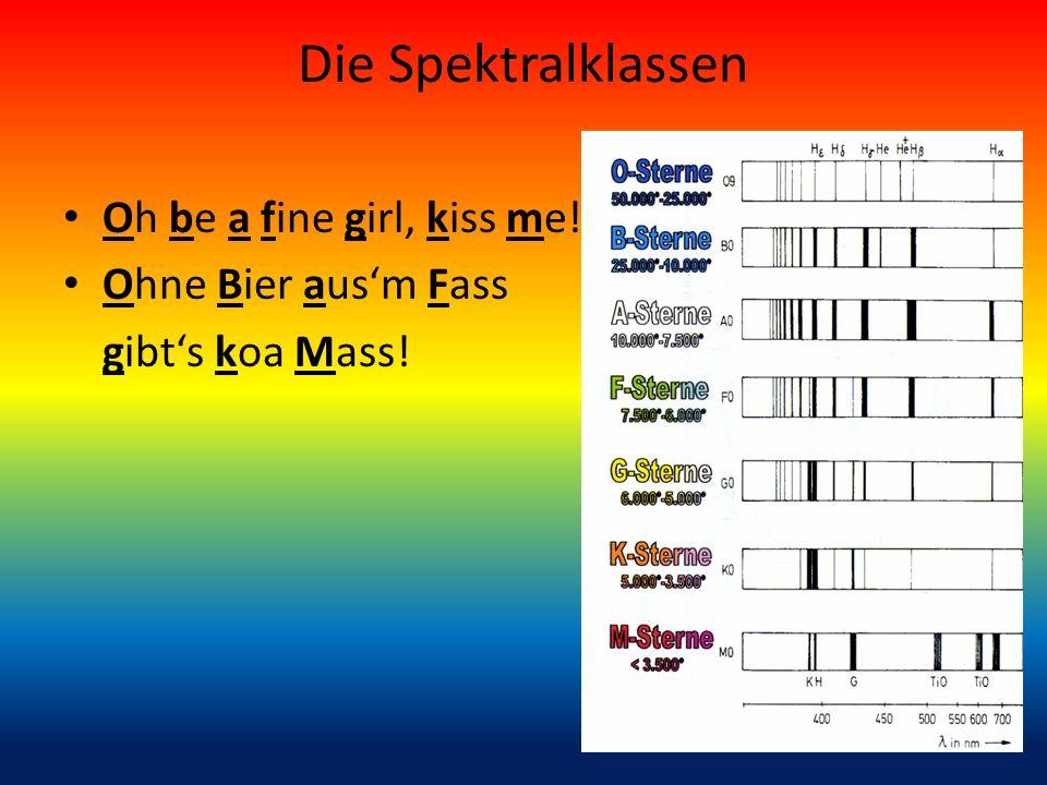 Die Spektralklassen Oh be a fine girl, kiss me! Ohne Bier aus'm Fass