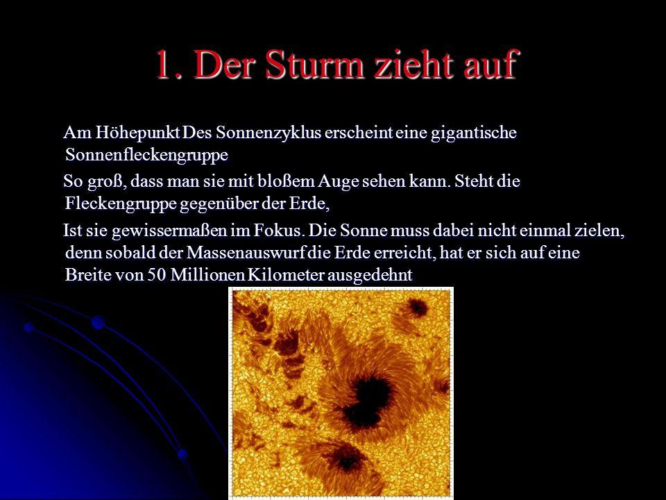 1. Der Sturm zieht auf Am Höhepunkt Des Sonnenzyklus erscheint eine gigantische Sonnenfleckengruppe.