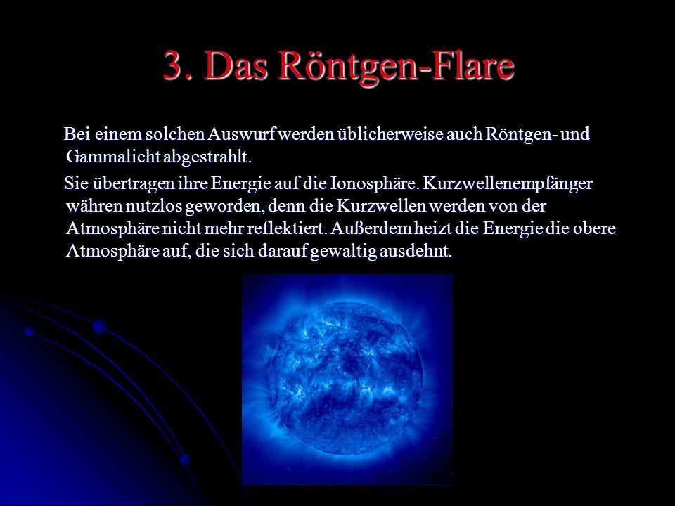 3. Das Röntgen-Flare Bei einem solchen Auswurf werden üblicherweise auch Röntgen- und Gammalicht abgestrahlt.