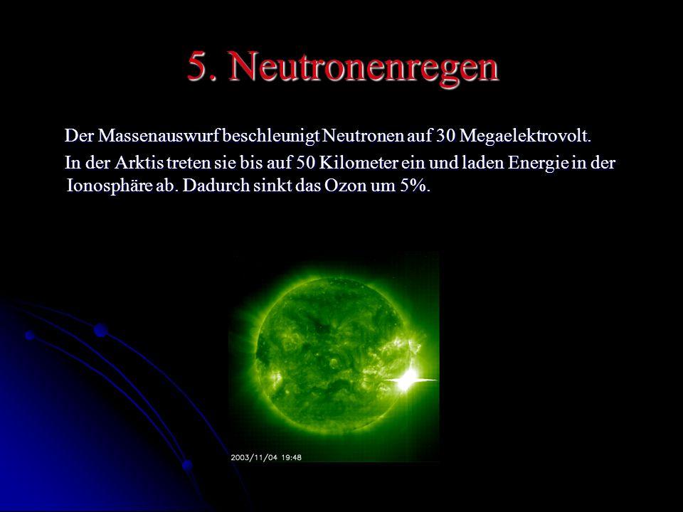 5. Neutronenregen Der Massenauswurf beschleunigt Neutronen auf 30 Megaelektrovolt.