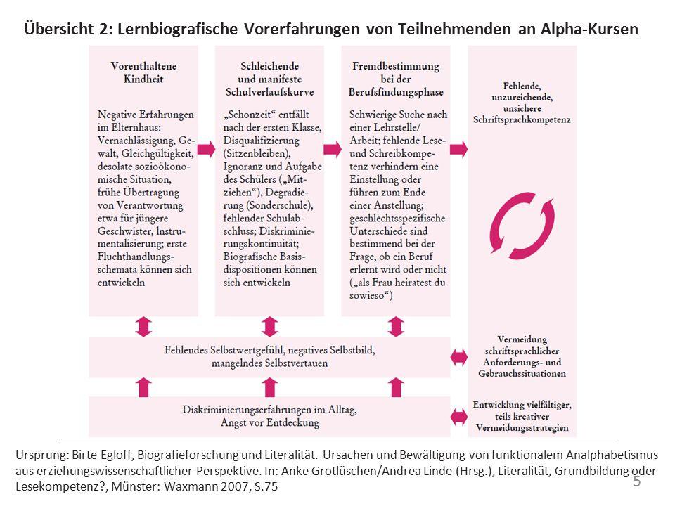 Übersicht 2: Lernbiografische Vorerfahrungen von Teilnehmenden an Alpha-Kursen