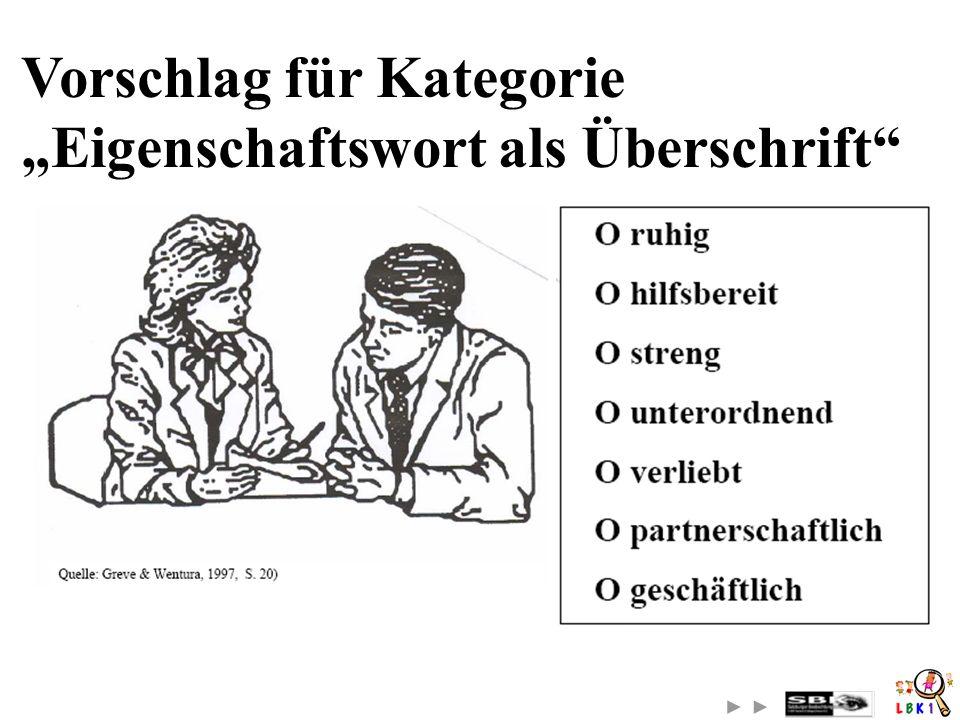"""Vorschlag für Kategorie """"Eigenschaftswort als Überschrift"""
