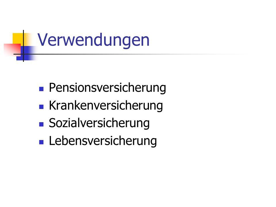 Verwendungen Pensionsversicherung Krankenversicherung