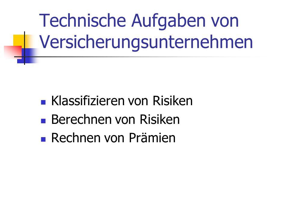 Technische Aufgaben von Versicherungsunternehmen